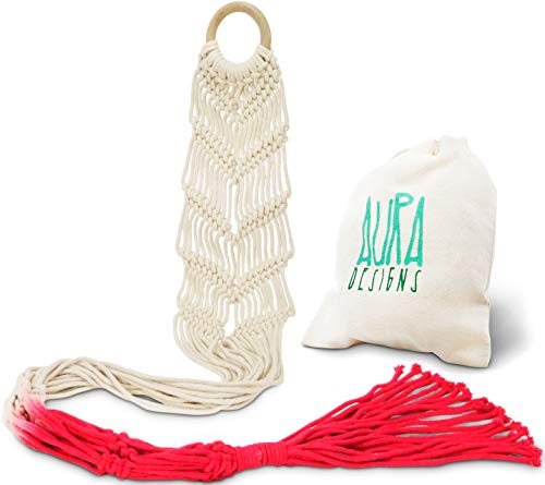 Macrame Plant Hangers Wall Planter - Red Ombre 48 Inch, Indoor or Outdoor Cotton Rope Hanging Plant Holder for Flower Pots - Modern Boho Home Decor ()