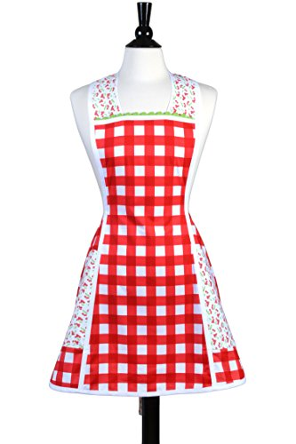 Neckband Head (Vintage Womens Kitchen Apron features Retro Styling in Red and White Gingham, Large Pockets, Over the Head Neckband)