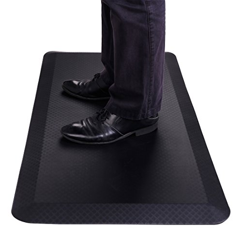 FlexiSpot Standing Desk Mat 20 in x 39 in Non-Slip Comfort Kitchen Floor Mat 3/4 Anti-Fatigue Black Comfort Kitchen Floor Mats for Standup Desks Kitchens Shipped Flat Midnight Black