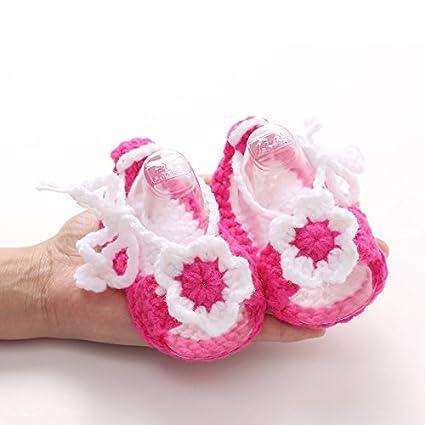 skuleer (TM) Multicolor recién nacido zapatos con flores Otoño Primavera hecho a mano Crochet