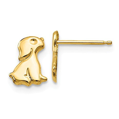 14k Yellow Gold Sitting Dog Post Stud Earrings Animal Cat Fine Jewelry Gifts For Women For Her (Gold Cat Earring Cuff)