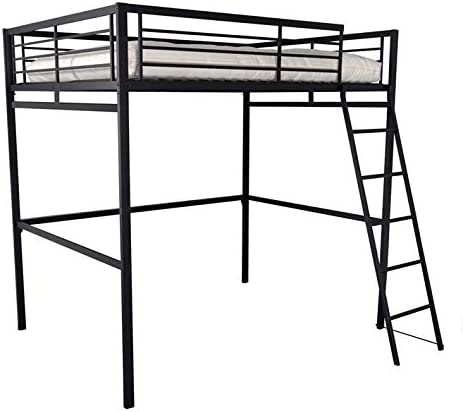 homy france lit mezzanine noir 140x190 cm en acier