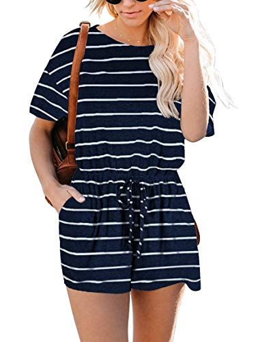 (YIBOCK Women's Summer Sleeveless Button Down Striped Short Jumpsuit Cami Romper)