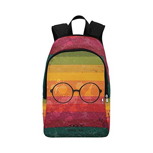 InterestPrint Glasses Rainbow Stripe Custom Casual Backpack School Bag Travel Daypack - Glasses Hippster