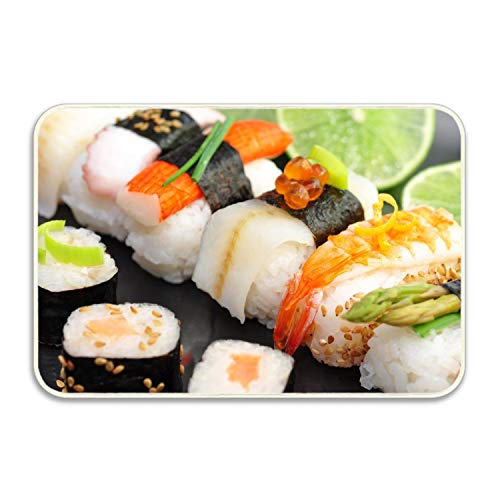 VEZEFOR Sushi Rolls Cumin Lime Red Caviar Crab Stick Door Mat Floor Mat Rug Indoor/Outdoor/Front Door/Bathroom Mats