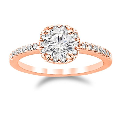 0.77 Ctw 14K Rose Gold GIA Certified Round Cut Classic Cushion Halo Diamond Engagement Ring, 0.5 Ct D-E I1 Center by Diamond Manufacturers USA