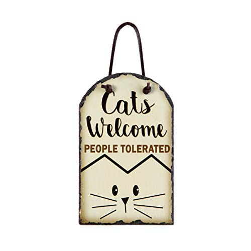 OHIO WHOLESALE, INC. Cats Welcome People Tolerated Cream 8 x 5 Slate Rock Decorative -