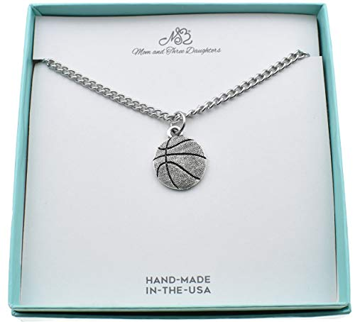 Basketball Charm Necklace (Basketball charm pendant in silver pewter on an 18