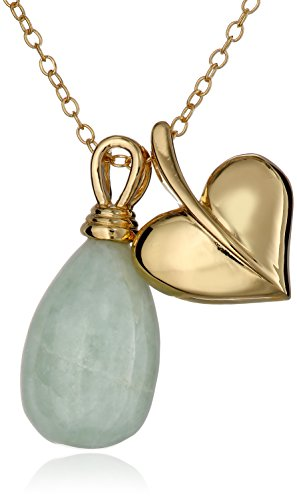 18k Yellow Gold-Plated Sterling Silver Jade Teardrop and Heart Necklace, 18
