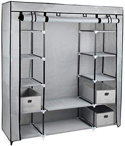 Eurotrade W Ltd Large Grey Fabric Canvas Bedroom Wardrobe With Hanging Rail Shelving Clothes Storage Cupboard Unit