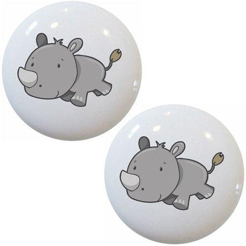 Set of 2 Rhinoceros Baby Ceramic Cabinet Drawer Pull Knobs