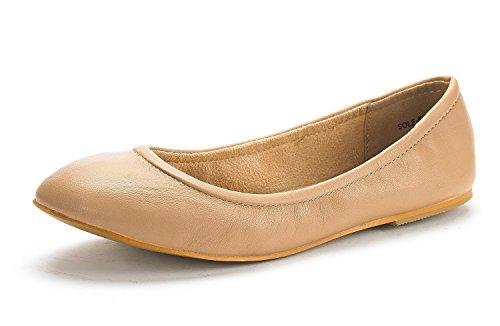 DREAM PAIRS Women's Sole-Fina Nude Solid Plain Ballet Flats Shoes - 11 M US