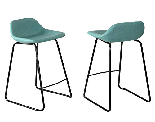 (Cortesi Home Ava Counterstools in Aqua Blue Faux Leather (Set of 2))