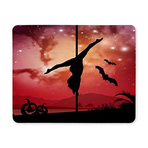 InterestPrint Pole Dancer in Galaxy Space Background with Halloween Elements Rectangle Non Slip Rubber Comfortable Computer Mouse Pad Gaming Mousepad Mat with Designs for Office Home Woman Man Boss -