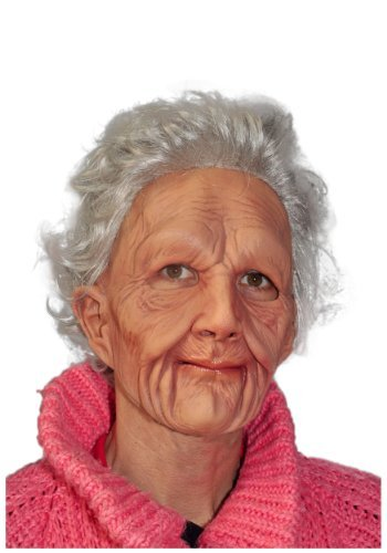Zagone Super Soft Old Woman Mask, Grey Balding Wrinkly Old -