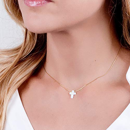 White Opal Cross On Dainty Gold Filled Choker Necklace - Handmade Collar 13.5 inch + 3 inch Extender ()