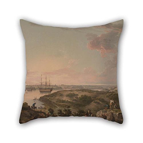 (Pillow Covers Of Oil Painting John Thomas Serres - Port Mahon, Minorca With British Men-of-War At Anchor 16 X 16 Inches / 40 By 40 Cm Best Fit For Office)