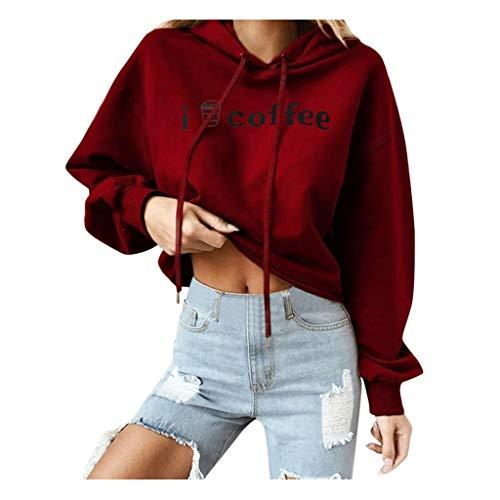 kaifongfu Crop Tops for Womens Long Sleeve Hooded Sweatshirts Pullover Tops Red (Kleidung Kurze Frauen)