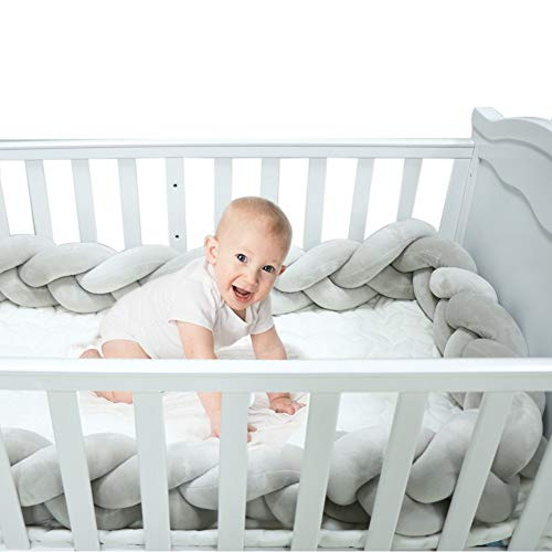 Braided Crib Bumper Grey Guards Baby Braided Knot Crib Bumper Liner Multifunctional Leg Pillow Stroller Cushion (Gray, 4 Meters/158 Inch)