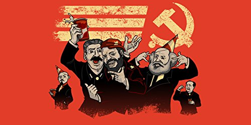 Communist Party Funny Pun Famous Communist Leaders Partying - Plywood Wood Print Poster Wall