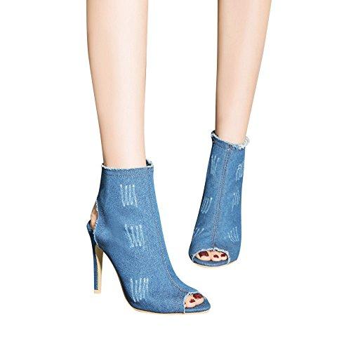 Peep Clair Talon Denim Bottes chaussures Haut Femme Cheville Talons Bleu Zipper Toe Bas À Escarpin Chaussures dames Femmes Creux q8CHxRwU