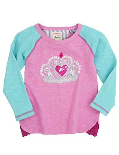 Hatley Little Girls' Raglan Tee Princess Crown, Pink, 4T by Hatley