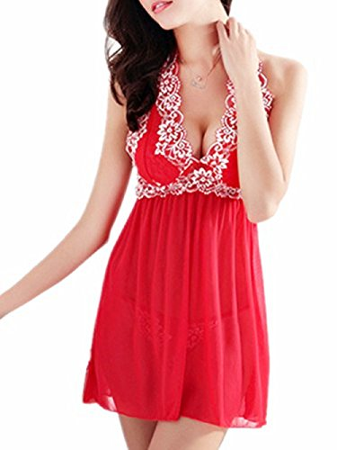 ZegoCaCa Womens Sexy Outfit Halter Babydoll Mini Nightwear Lace Lingerie Medium Red