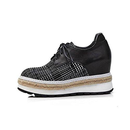 EU39 Décontractées Shoes CJC Taille Chaussures Head Round Black Fashion Couleur épaisses Chaussures UK6 Black wUt1qP4