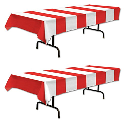 - Red & White Stripes Tablecover Party Accessory (2 Count)