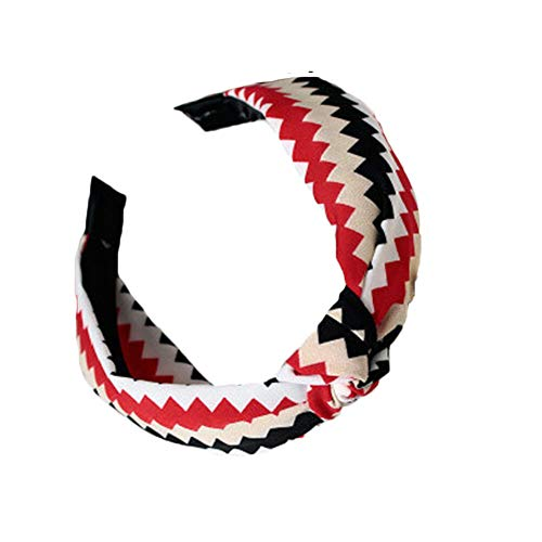 Women Striped Floral Print Knot Hairband Wide Headband Vintage Hair Accessories (Color - red)