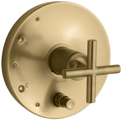 KOHLER K-T14501-3-BGD Purist Rite-Temp Pressure-Balancing Valve Trim with Cross Handles, Vibrant Moderne Brushed Gold (Temp Pressure Balancing Purist Rite)