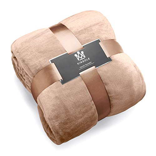 Kingole Flannel Fleece Microfiber Throw Blanket, Luxury Brown Twin Size Lightweight Cozy Couch Bed Super Soft and Warm Plush Solid Color 350GSM (66