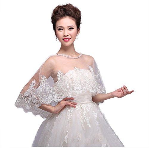 Bridal Embroidered Lace Appliques Shrug Wedding Shawl Wrap Stole Bolero Jacket Coat (Model-03) ()