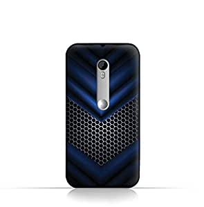Moto X play TPU Silicone Case With Abstract Blue Mesh Pattern