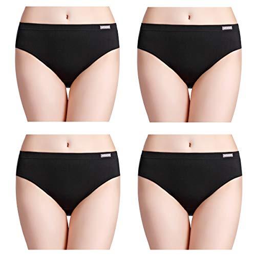 (wirarpa Women's Super Soft Modal Underwear High Cut Panties Ladies Stretch Breathable Briefs 4 Pack Black Size 7, Large)