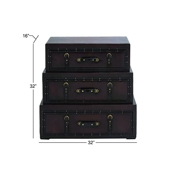 """Deco 79 55734 Wood Leather Trunk Dresser, 32"""" x 32"""", Brown"""