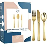 Gold Plastic Silverware Party Utensils Set - Heavy Duty Plastic Disposable Cutlery (30 Spoons, 30 Forks & 30 Knives) Ideal For Gold-Themed Elegant Parties, Birthdays & Luxury Weddings