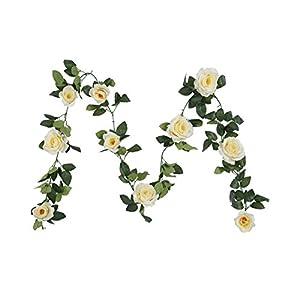 Houda Vintage Artificial Fake Silk Flowers Rose Garland Plant Vine Home Garden Wall Wedding Decor 2PCS (Champagne) 27