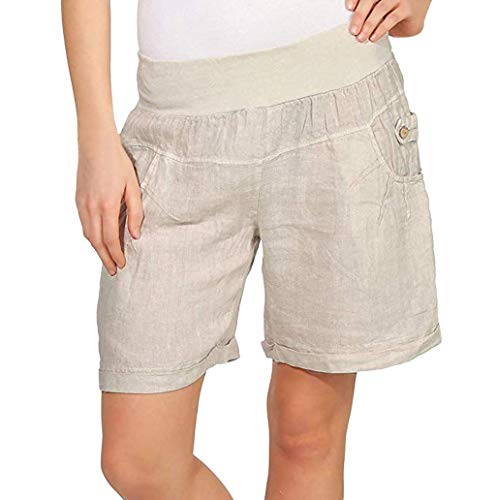 (TOTOD Shorts for Women Casual Solid Elastic High Waist Capris Pants with Button Pocket Beige)