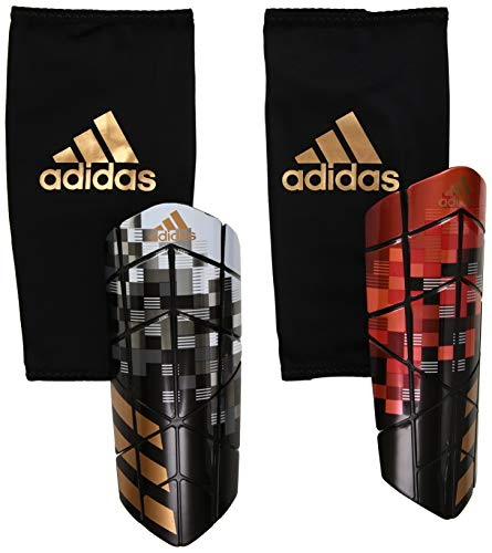 adidas Performance X Graphic Shin Guards, Silver Metal/Black/Copper Gold, X-Large