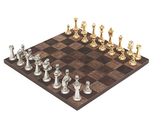 (The Messina Gold and Silver leather Italian chess set)