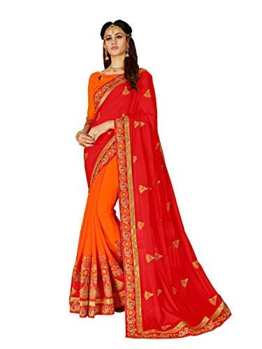 MANOHARI Red Georgette Embroidered Saree with Blouse