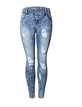 YFLTZ Pantalon Basic Jeans pour Femme - Couleur Unie Bleu   Blanc, Gland,  ... 6682af37aefe