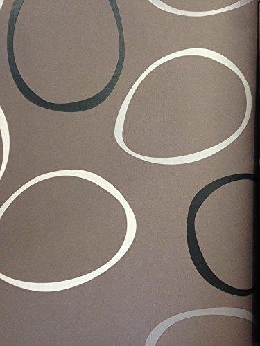 Carta Da Parati Moderna Design.Carta Da Parati Moderna Contempora 1309 Marrone Cerchi Design