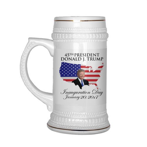 Presidential Trim - Limited Edition Donald Trump Beer Stein 22oz 45th Presidential Inauguration Collectors Republican GOP MUG Gold Trim