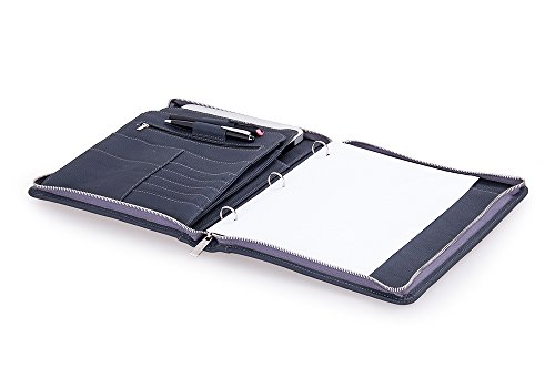 Leather Business Padfolio with 3-Ring Binder for Letter A...
