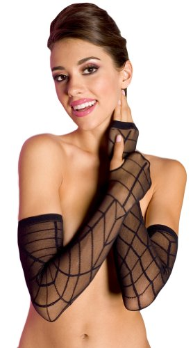 Spider Web Arm Warmers - ToBeInStyle Women's Sheer Spider Web Arm Warmer - One Size - Black