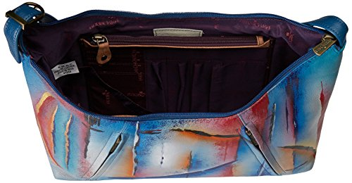 Skies Leather Northern Anuschka Hobo Skies Zippered Medium Handpainted Northern YwTx6