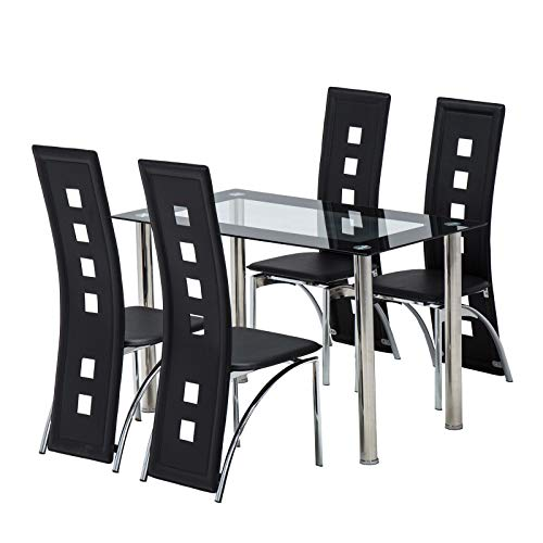 Simple Happyness 5-Pcs. Dinner Set Dining Table Chairs Home Kitchen Dining Hotel Restaurant Party Family Romantic Lover Tempered Glass Top PVC Leather Iron High Backrest Stable Sturdy Black Setof ()