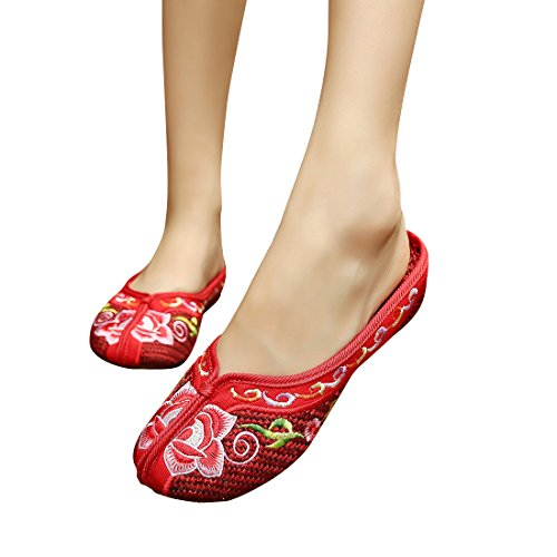 Embroidered Flower Flat Shoes Cotton Embroidered Ethnic Dance Shoes Sandals Flip Flop ()